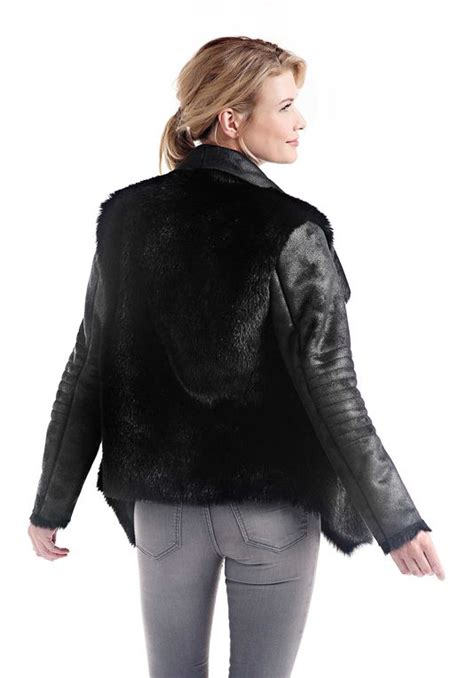 shearling drape jacket black drape front faux shearling jacket womens faux fur