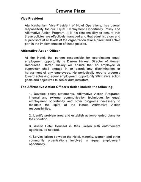 Affirmative Officer Sle Resume by Sle Affirmative Plan Affirmative Plan Sle In Word 8 Affirmative