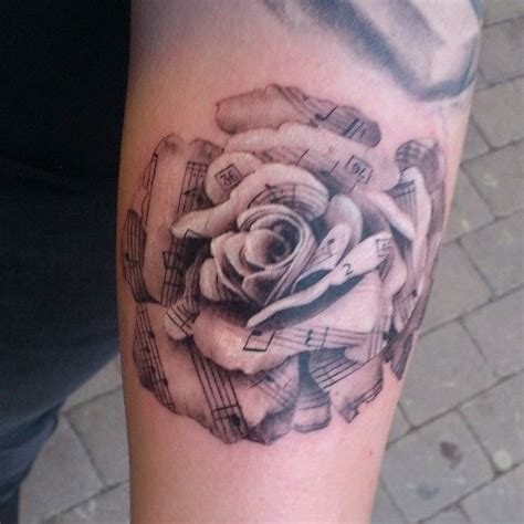 rose themed tattoo nice music themed very detailed black and white rose