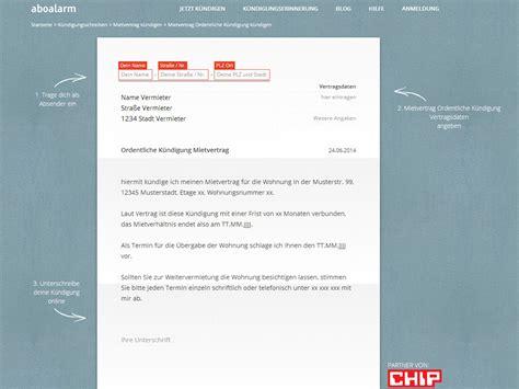 Muster Kündigung Wohnung Mit Nachmieter K 252 Ndigung Mietvertrag Vorlage Chip