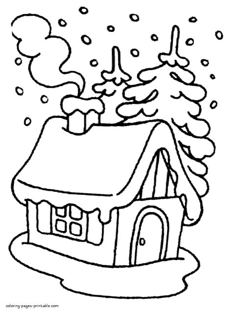 colouring pages  kids house   winter forest