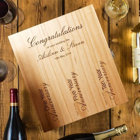 3 Bottle Engraved Wedding Wine Box   Peach Hampers