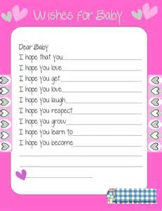 Wishes For Baby Printable Template by Free Printable Baby Shower Wishes For The Baby