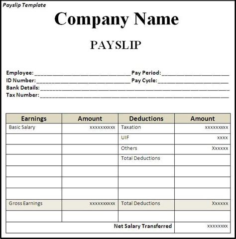 salary receipt template for a nanny get employee pay slip template format projectmanagersinn