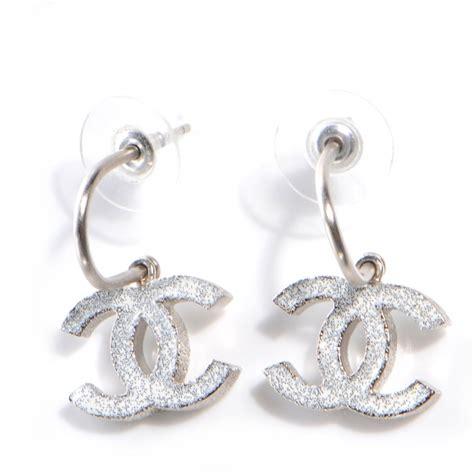Chanel Sabit Silver White chanel glitter enamel cc loop earrings silver white 63659
