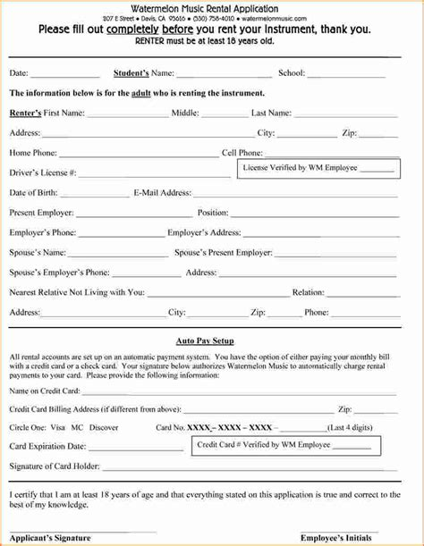 Credit Application Form For Renters 8 Basic Rental Application Form Printable Receipt