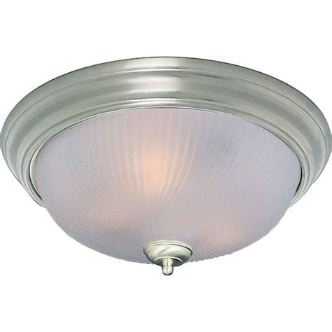 flush mount light hton bay flaxmere 1 light brushed nickel flushmount