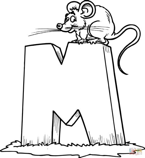 letter m is for mouse coloring page free printable