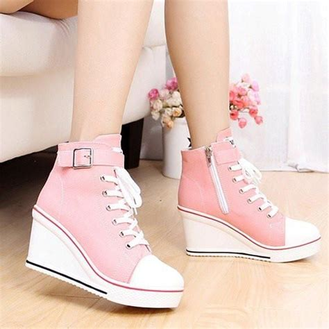 Boots Wedges Korea Style White big size canvas korean style lace up buckle wedge heel