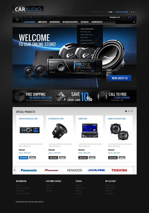 Car Audio Gear Opencart Template Web Design Templates Website Templates Download Car Audio Speaker Website Templates
