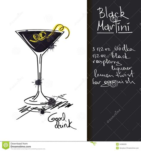 martini illustration illustration with black martini cocktail royalty free