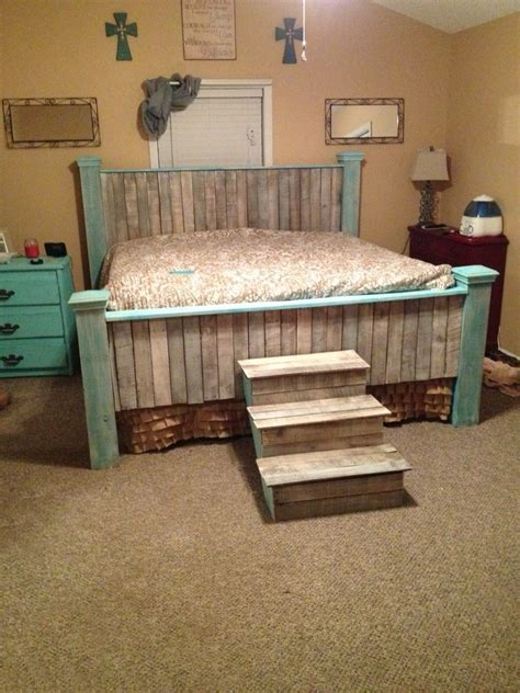 diy farmhouse headboard teal whitewashed farmhouse pallet king bed and stairs diy branden bobby and me pallet