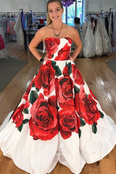 huge red rose floral printed strapless white satin