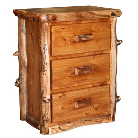 Rustic Nightstands Log Nightstand With 3 Drawers Country Western Rustic