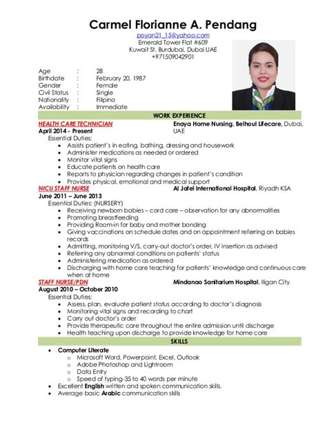 sle cv for nurses in dubai nursing resume new