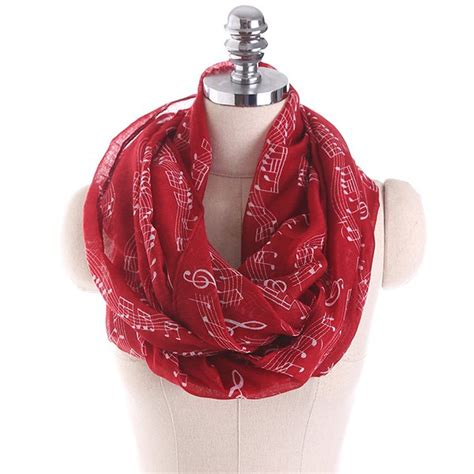 note infinity scarf wholesale musical note stave pattern infinity scarf wine