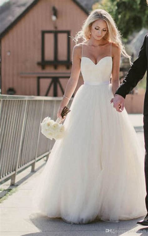 Sleek And Thin Straps Dress discount wedding dresses 2015 new sweetheart with lace corset bodice spaghetti straps