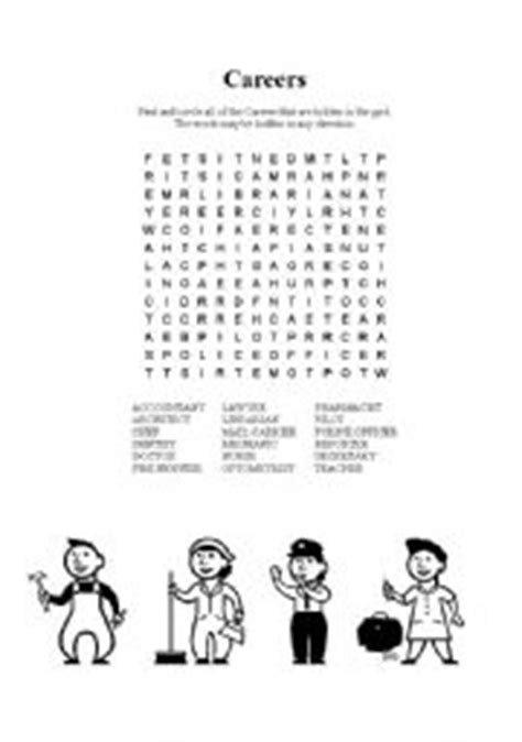 printable word search careers english worksheets careers word search