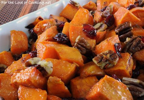 roasted yams with maple dried cranberries and pecans for the love of cooking