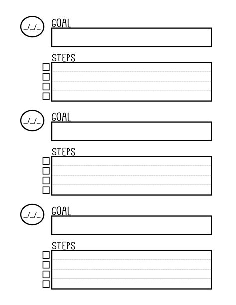 set template free printable goal setting planner worksheet planners