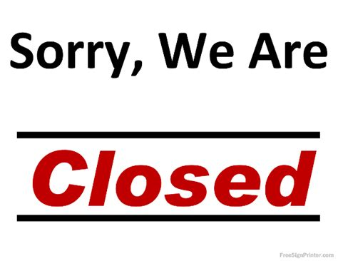 printable closed sign print closed signs