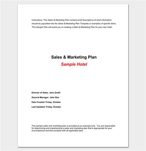 Hotel Marketing Plan Template 6 Sles For Word Pdf Format Hotel Sales Plan Template