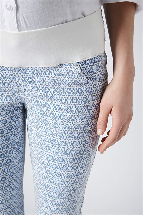 topshop patterned jeans topshop maternity moto tile print leigh jeans in blue lyst