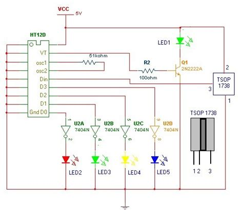 Ht12d a remote using ht12e and ht12d chips circuit