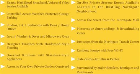 Apartment Amenities List Amenities And Floorplans 507 Northgate Luxury
