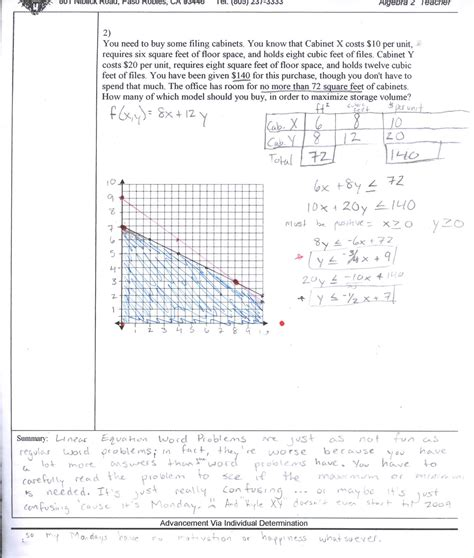 Linear Programming Worksheet With Answers by Algebra 2 Linear Inequalities Worksheet Answer Key Math