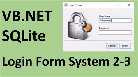 design login form in vb net how to create login form using vb net and sqlite 2 3 youtube