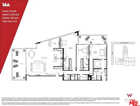 floor plan los angeles w hollywood residences 6250 hollywood blvd