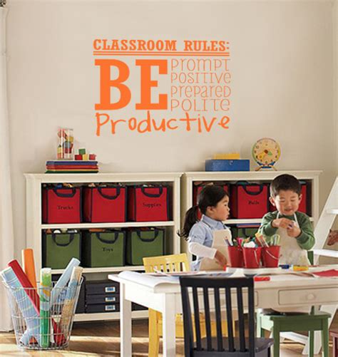classroom rules wall decal trading phrases