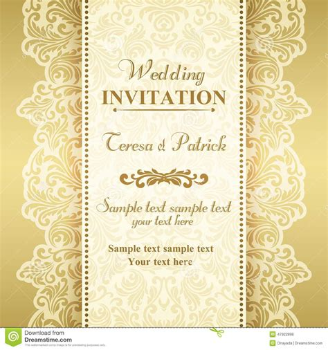 gold wedding cards templates baroque wedding invitation gold and beige stock vector