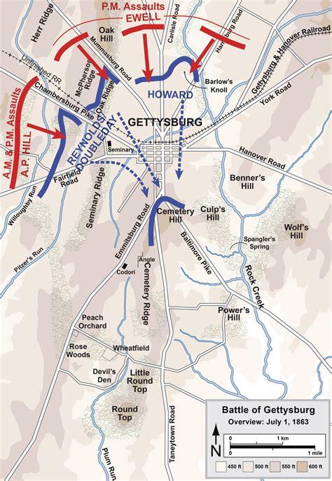 gettysburg map battle of gettysburg day