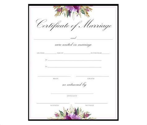 wedding certificate template formal marriage certificate