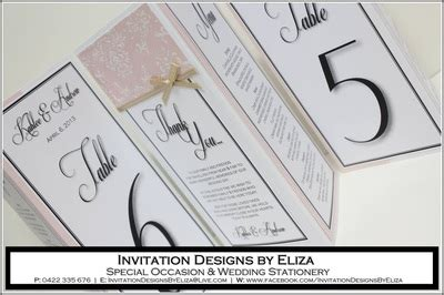 invitation design by eliza three sided cards menu table cards