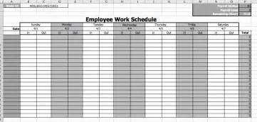 Blank Monthly Work Schedule Template by Employee Work Schedule Template Business Templates