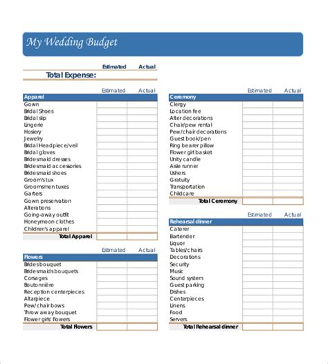 Wedding Budget Document by Wedding Budget Template 13 Free Word Excel Pdf