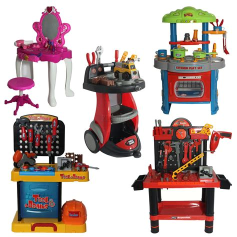 kids tool bench set kids dressing table mirror kitchen set tool bench role play diy pretend game toy ebay