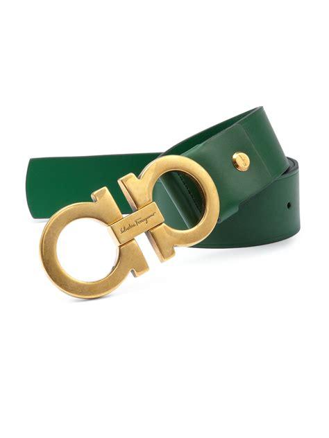 Salvatore Ferragamo Green lyst ferragamo gancini leather belt in green for