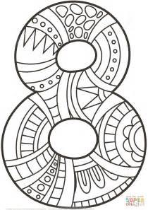 Number 8 Zentangle Coloring Page Free Printable Coloring 8 X 10 Coloring Pages