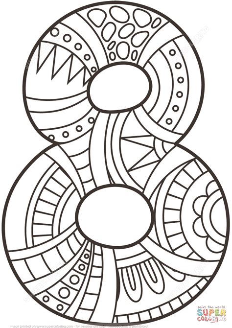 Coloring Page Number 8 by Number 8 Zentangle Coloring Page Free Printable Coloring