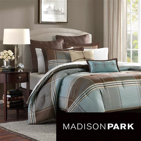 overstock bedding sets madison park davenport blue brown 8 piece comforter set