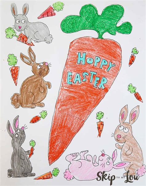 bunnies coloring page  easter skip   lou