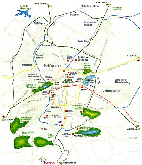 map of mexico city area tourist attractions in mexico city map
