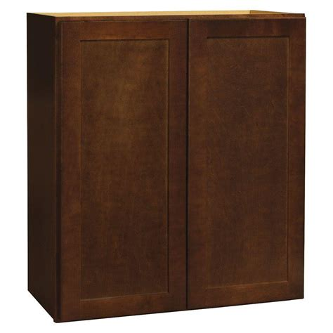 hton bay cognac cabinets hton bay shaker assembled 27x30x12 in wall kitchen
