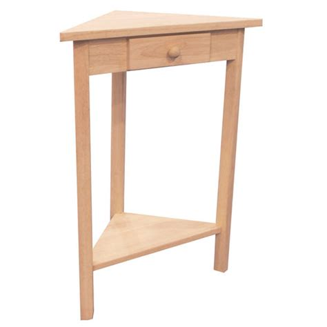 table unfinished corner accent table by international