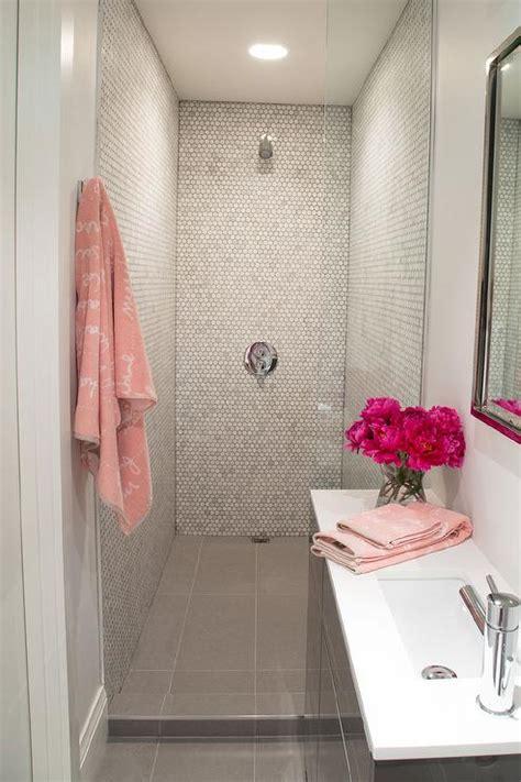 Pink and gray small bathroom design contemporary bathroom
