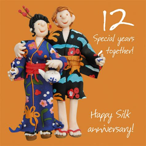12 Wishes Of - happy 12th silk anniversary greeting card one lump or two